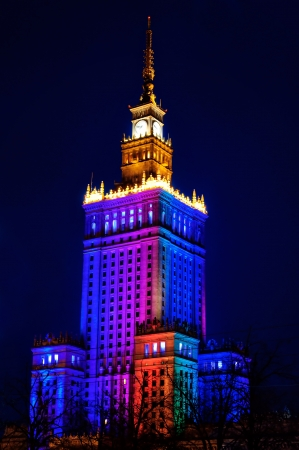 popular science: Illuminated Palace of Culture and Science at night. Warsaw, Poland