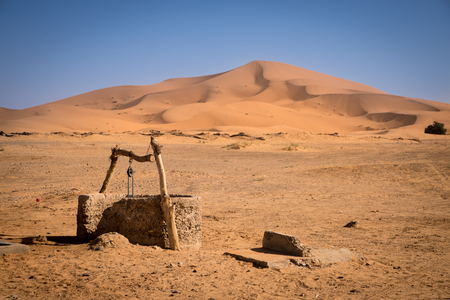 Old well on Sahara Desert, Merzouga, Morocco