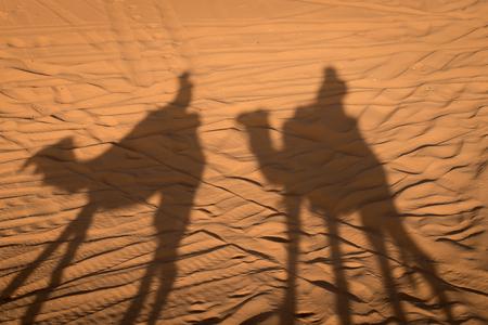 erg chebbi: Camel shadows on Sahara Desert dunes, Erg Chebbi, Merozuga, Morocco Stock Photo