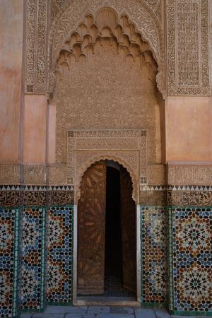 マラケシュ、モロッコでアリ ベン ユーセフ マドラサは、元のイスラム大学、有名なランドマークです。 報道画像