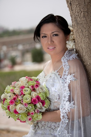 Lovely Asian Bride on Her Wedding Day Outside