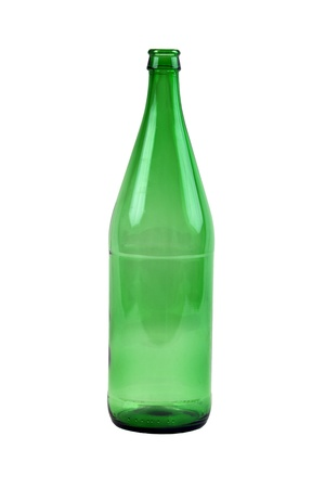 Isolated Empty Green Bottle on White Background