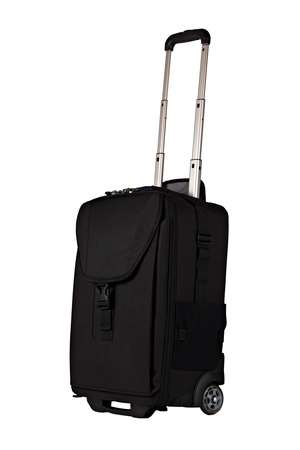 Black Carry-on with Wheels Isolated on White Background