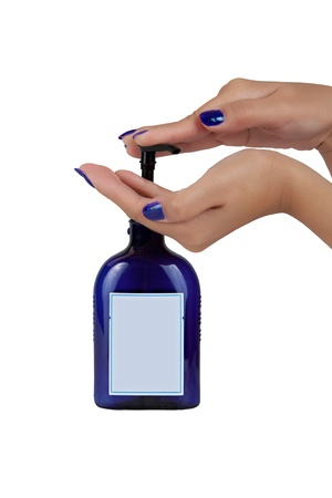 Hand Liquid Soap Bottle Isolated on White Background with Clipping Path