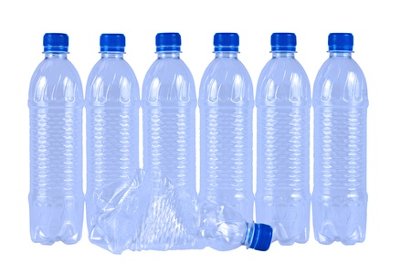 Plastic Drinking Water Bottles Isolated on White Background