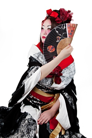 Female Wearing a Japanese Kimono Isolated on White Background
