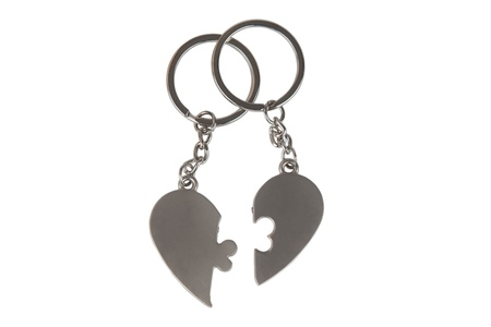 Gift Keychain in a Heart Shape Isolated on White Background