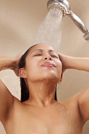 showering: Beautiful Asian Female Showering