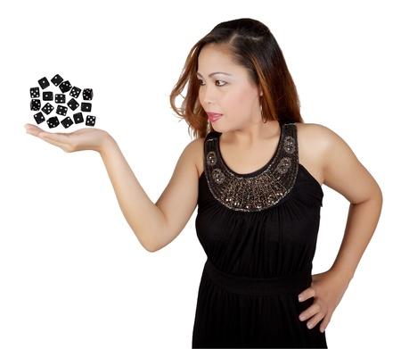 levitating: Asian Female Levitating Black Dice