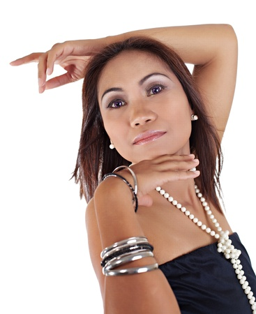 filipina: Female Asian Posing with One Arm on Top of Head