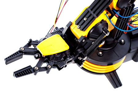 Closeup Black and Yellow Robotic Arm