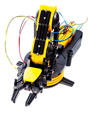 Electronic Black and Yellow Robotic Arm Stock Photo