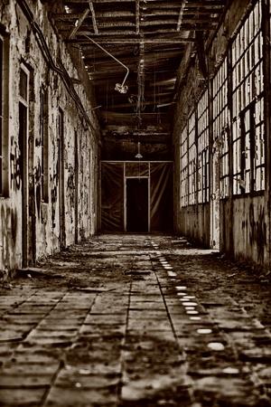 degradation: Creepy Damaged Interior Hallway