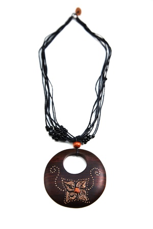 Brown Necklace with a Wooden Pendant