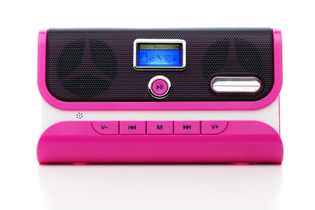 Pink Elektronische mini digitale speler met speakers Stockfoto