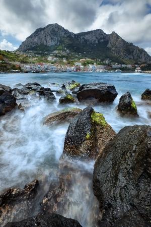 Seascape view of Capri Island, Italy Stock Photo
