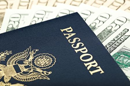 United States Passport with American Money photo