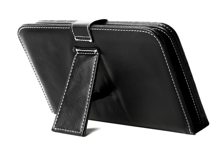 Black leather tablet case Stock Photo
