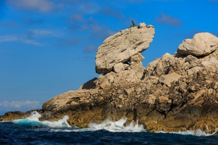 Sculpture on top of a rock at Capri Island, Italy