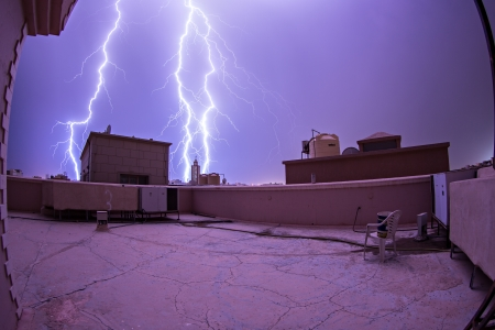 Lightning bolts strikes in Mangaf, Kuwait.