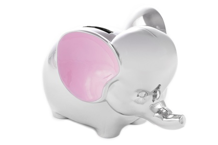 Silver and pink elephant piggy bank on white background