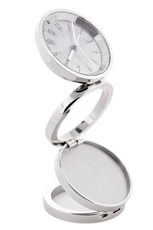 Modern silver alarm clock on white background