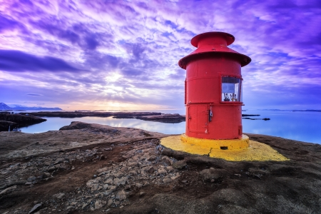 Red lighthouse in Stykkisholmur, Iceland on the Snaefellsnes peninsula
