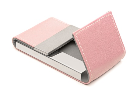 Pink leather business card holder