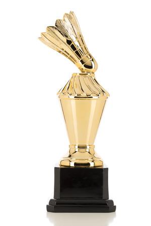 Golden Trophy of a Badminton Shuttlecock Standard-Bild
