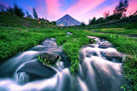 River stream with Mt  Mayon volcano in Albay, Philippines