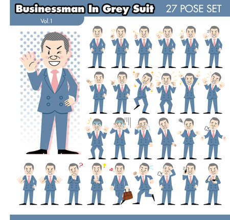 business phone: set of various poses of businessman in grey suit1
