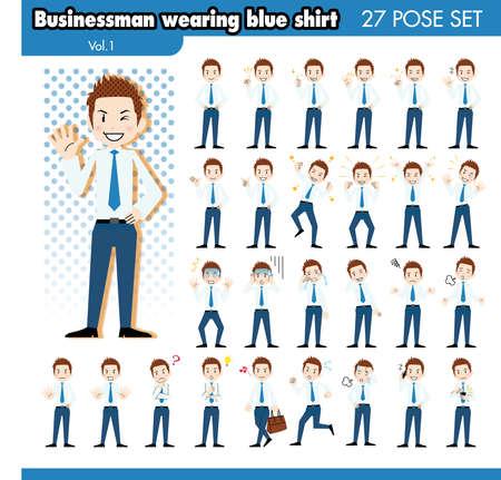 ashamed: set of various poses of businessman in blue shirt1