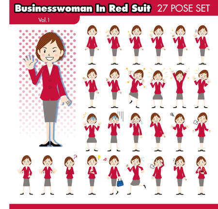 tiring: set of various poses of businesswoman in red suit1 Illustration