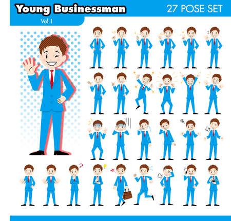 tiring: set of various poses of Young businessman in blue suits1