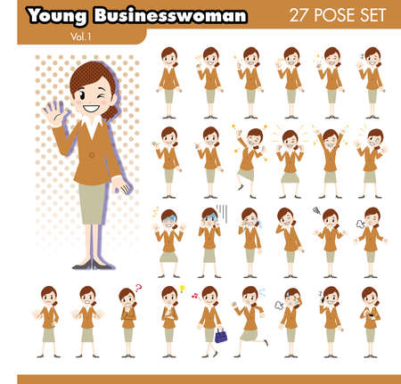 tiring: set of various poses of Young businesswoman in brown suit1 Illustration