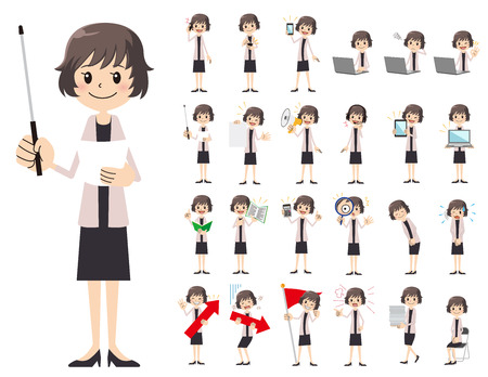 It is a character set of a business women. There are gestures and poses mainly explained. It's vector art so it's easy to edit.