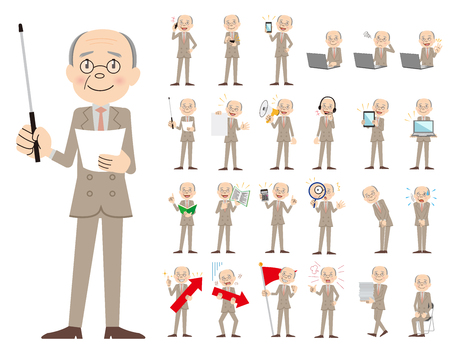 It is a character set of a businessman. There are gestures and poses mainly explained. It's vector art so it's easy to edit. Illusztráció