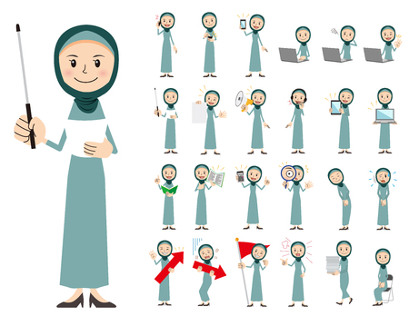It is a character set of an arabian woman. There are gestures and poses mainly explained. Its vector art so its easy to edit. Ilustração
