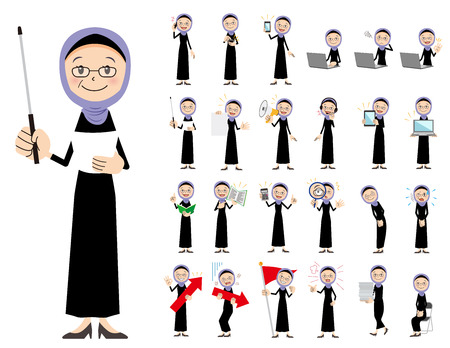 It is a character set of an arabian woman. There are gestures and poses mainly explained. It's vector art so it's easy to edit.