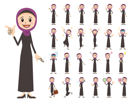 It is a character set of an arabian woman. There are basic emotional expression and pose. It's vector art so it's easy to edit. Ilustração