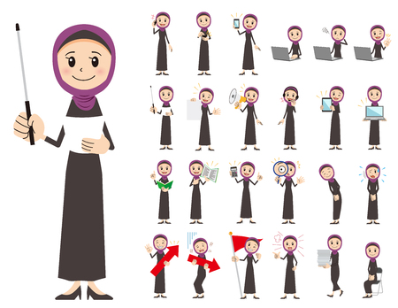 It is a character set of an arabian woman. There are gestures and poses mainly explained. Its vector art so its easy to edit. Иллюстрация