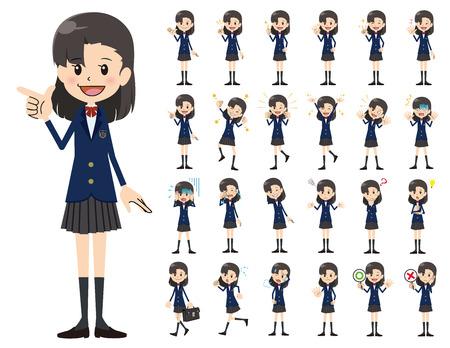 Es ist ein Zeichensatz eines Schulmädchens. Es gibt grundlegende emotionale Ausdrücke und Posen. Es handelt sich um Vektorgrafiken, die leicht zu bearbeiten sind.