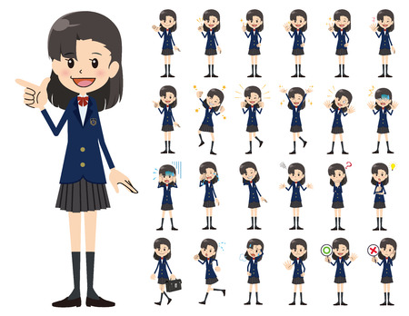 It is a character set of a schoolgirl. There are basic emotional expression and pose. It's vector art so it's easy to edit.