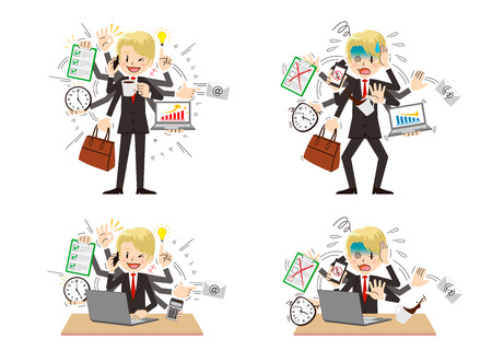 Businessman to do a multi-tasking. Illustration