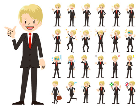 It is a character set of a businessman. There are basic emotional expression and pose. Its vector art so its easy to edit.