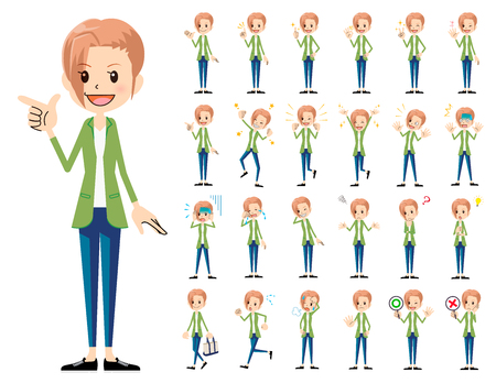 It is a character set of a woman. There are basic emotional expression and pose. Its vector art so its easy to edit.