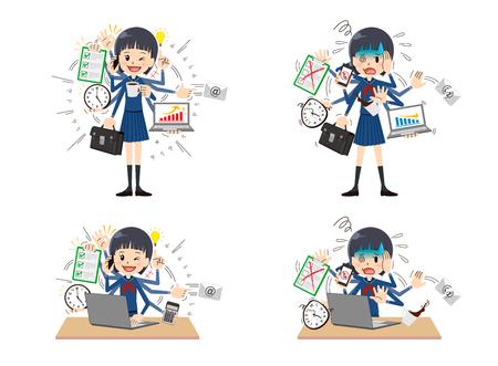 Schoolgirl to do a multi-tasking.