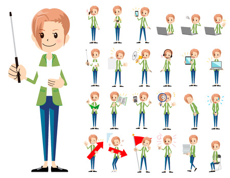 It is a character set of a woman. There are gestures and poses mainly explained. Its vector art so its easy to edit. Ilustrace