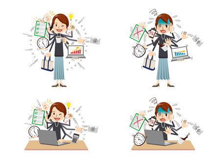 Busy woman to do a multi-tasking.