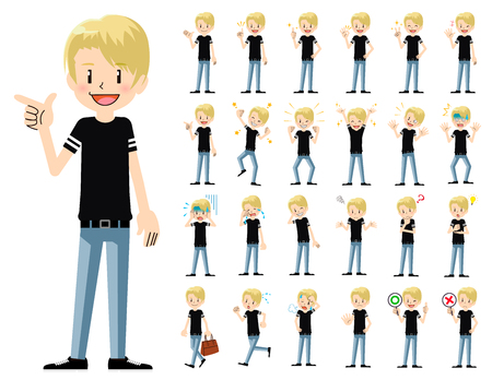 It is a character set of a man. There are basic emotional expression and pose. Its vector art so its easy to edit. Иллюстрация